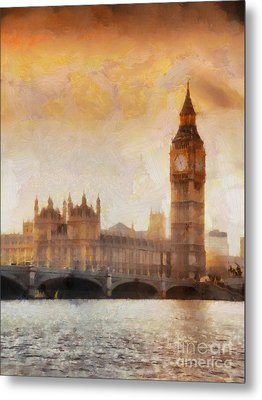 Big Ben At Dusk Metal Print by Pixel Chimp
