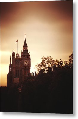 Big Ben In Sepia Metal Print