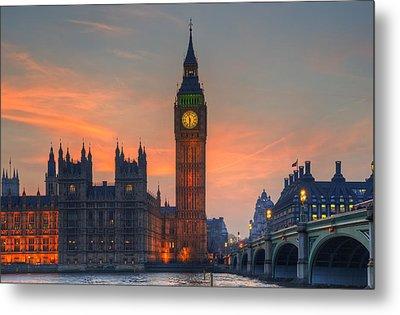 Big Ben Parliament And A Sunset Metal Print