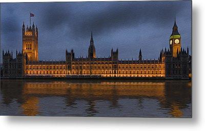 Big Ben Parliament London Digital Painting Metal Print by Matthew Gibson