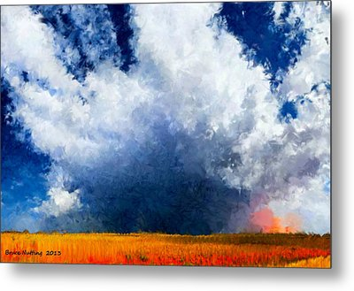 Metal Print featuring the painting Big Cloud In A Field by Bruce Nutting