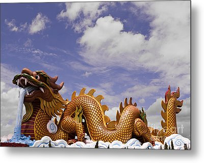 Big Dragon Statue And Blue Sky With Cloud In Thailand Metal Print