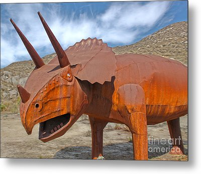 Big Fake Dinosaur - Triceratops Metal Print by Gregory Dyer