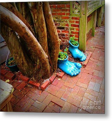 Big Foot Left His Filo Shoes Behind Metal Print by Lorraine Heath