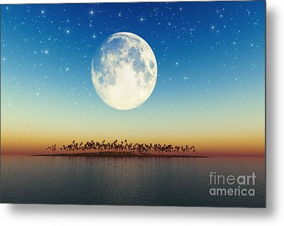 Big Full Moon Behind Island Metal Print by Aleksey Tugolukov