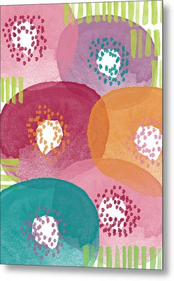 Big Garden Blooms- Abstract Florwer Art Metal Print by Linda Woods