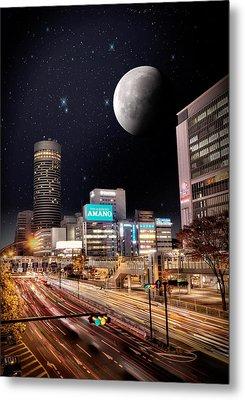Big Moon Yokohama Metal Print by John Swartz