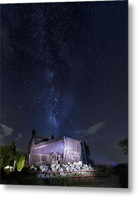Big Muskie Bucket Milky Way And A Shooting Star Metal Print by Jack R Perry