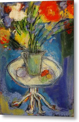 Big Red Flowers In A Pale Green Vase  Metal Print by Tolere