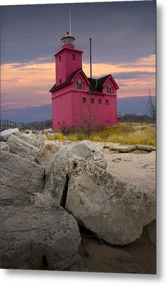 Big Red Lighthouse By Holland Michigan Metal Print by Randall Nyhof