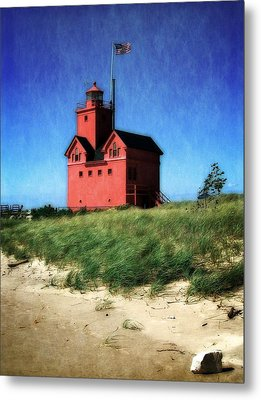 Big Red With Flag Metal Print by Michelle Calkins