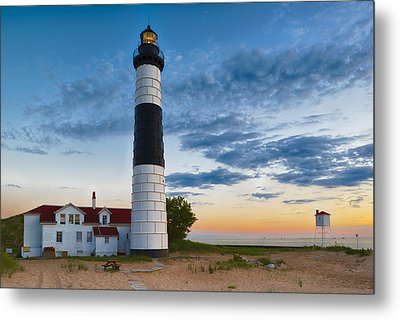 Metal Print featuring the photograph Big Sable Point Lighthouse Sunset by Sebastian Musial