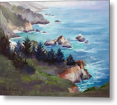Big Sur In The Mist Metal Print by Karin  Leonard