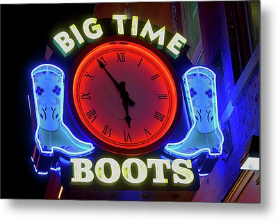 Big Time Boots Neon Sign, Lower Metal Print