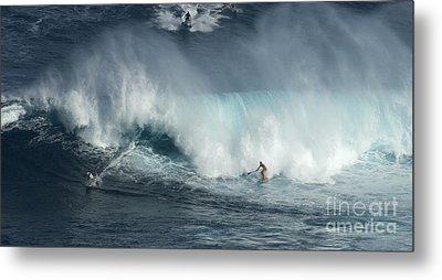 Big Wave Surfers Maui Metal Print by Bob Christopher