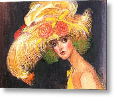 Metal Print featuring the painting Big Yellow Fashion Hat by Sue Halstenberg