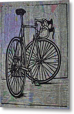 Bike 4 On Map Metal Print by William Cauthern