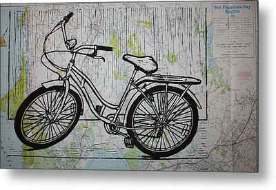 Bike 5 On Map Metal Print by William Cauthern