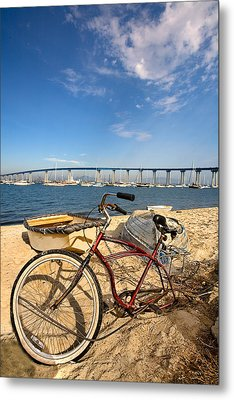 Bike And A Brdige Metal Print by Peter Tellone