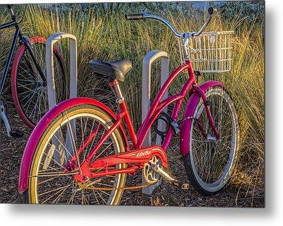 Bike At The Beach Metal Print by Debra and Dave Vanderlaan