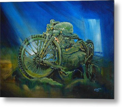Bike In A Different Dimension Metal Print by Ottilia Zakany