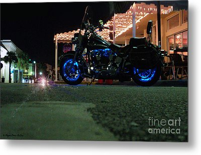 Bike Night In Blue Light Metal Print by Megan Dirsa-DuBois