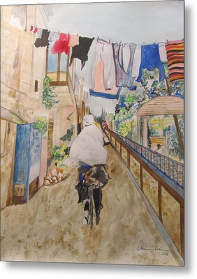 Bike Rider In Jerusalem Metal Print by Esther Newman-Cohen