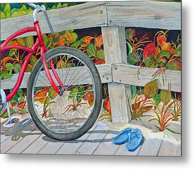 Bike To The Beach Metal Print by Judy Mercer