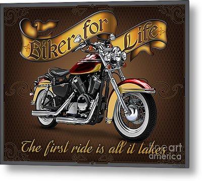 Biker For Life Metal Print by JQ Licensing Jeff wack