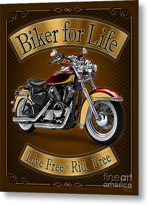 Biker For Life Metal Print by JQ Licensing