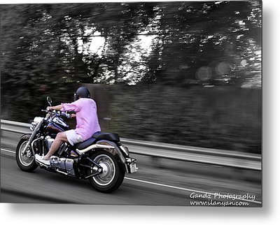 Metal Print featuring the photograph Biker by Gandz Photography