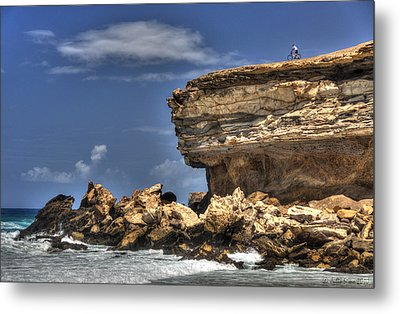 Metal Print featuring the photograph Biker On The Rocky Cliff At La Pared by Julis Simo