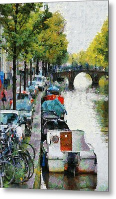 Bikes And Boats In Old Amsterdam Metal Print