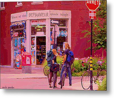 Bikes Backpacks And Cold Beer At The Local Corner Depanneur Montreal Summer City Scene  Metal Print by Carole Spandau
