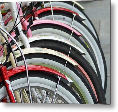Bikes In A Row Metal Print by Joie Cameron-Brown