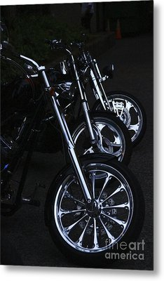 Bikes In The Night Metal Print