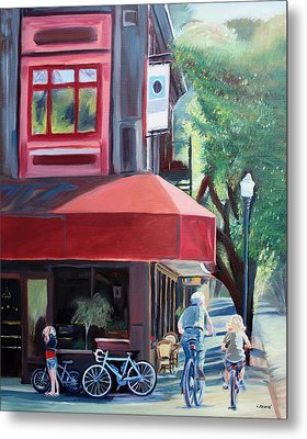 Bikes In Town Metal Print by Colleen Proppe