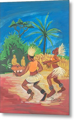 Metal Print featuring the painting Bikutsi Dance 2 From Cameroon by Emmanuel Baliyanga