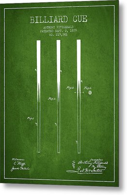 Billiard Cue Patent From 1879 - Green Metal Print