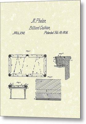 Billiard Cushion 1856 Patent Art Metal Print