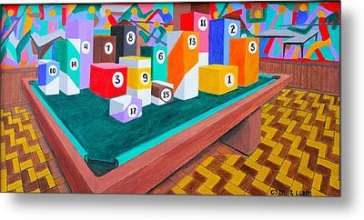 Metal Print featuring the painting Billiard Table by Lorna Maza