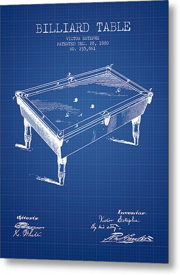 Billiard Table Patent From 1880 - Blueprint Metal Print