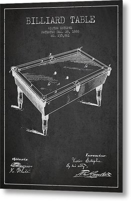 Billiard Table Patent From 1880 - Charcoal Metal Print