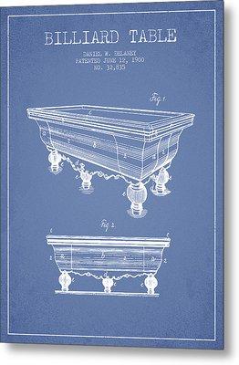 Billiard Table Patent From 1900 - Light Blue Metal Print