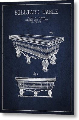 Billiard Table Patent From 1900 - Navy Blue Metal Print