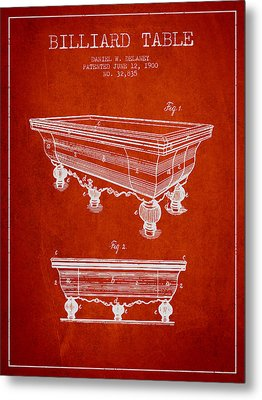 Billiard Table Patent From 1900 - Red Metal Print