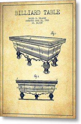 Billiard Table Patent From 1900 - Vintage Metal Print