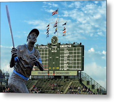 Billy Williams Chicago Cub Statue Metal Print by Thomas Woolworth