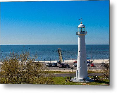 Biloxi Lighthouse And The Gulf Of Mexico Metal Print