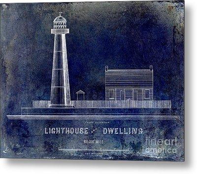 Biloxi Lighthouse Drawing Blue Metal Print by Jon Neidert